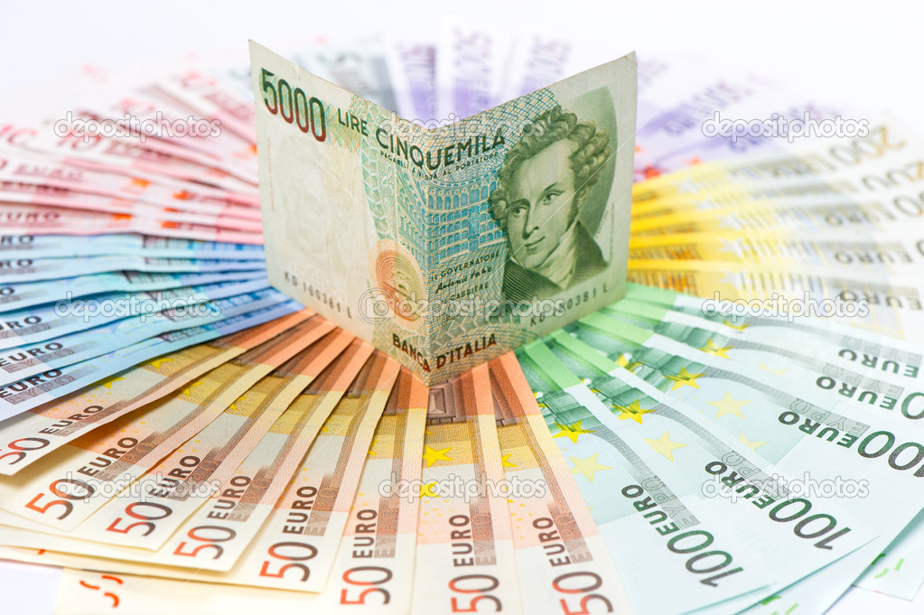 euro crisis concept. old italian lire (its no existing money) over euro currency banknotes